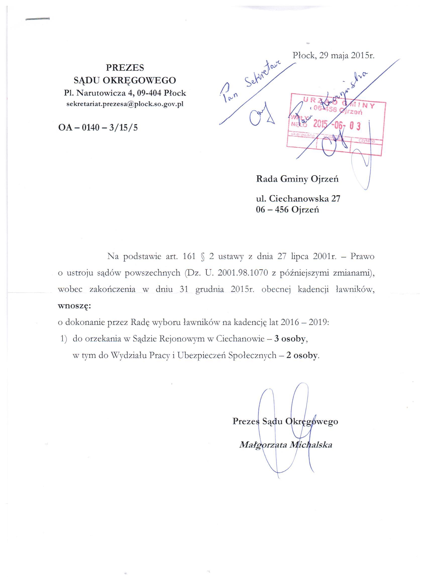 Informacja Prezesa Sądu Okręgowego w Płocku